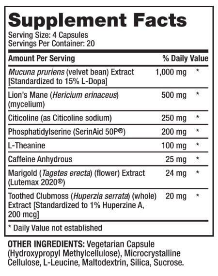 Alpha Brain Black Label Ingredients List